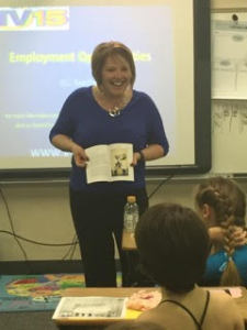 Missy presenting to a classroom